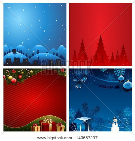 Four Christmas Background vector illustration