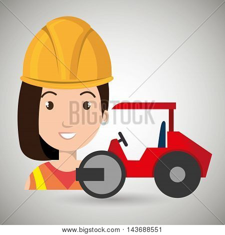 worker steamroller construction vector illustration design eps 10