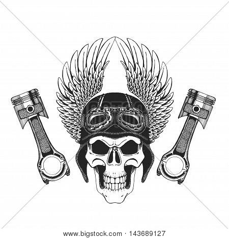 Hand drawn image of skull with wings For t-shirts and any kind of design