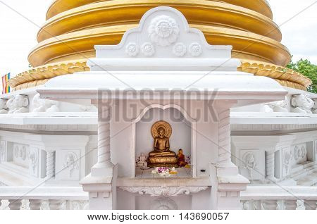 Buddhist dagoba (stupa) close up in Golden Temple. Dambulla Sri Lanka