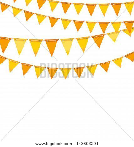 Illustration Autumn Holiday Background with Orange and Yellow Bunting Flags. Template for Poster, Signage - Vector