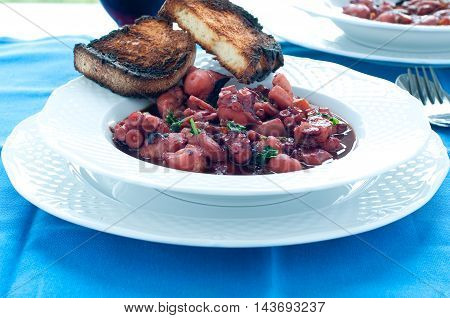 delicious octopus stew typical Italian recipe italy