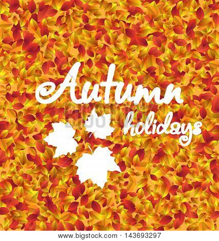 Illustration Autumn Holiday Background, Leaves Texture - Vector