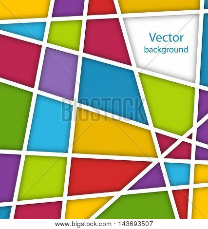 Illustration Abstract Geometric Background with Paper Lines and Colorful Polygonal Shapes - Vector