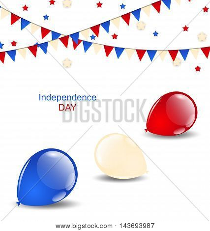 Illustration colorful balloons in american flag colors - vector