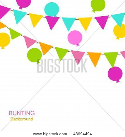 Illustration Simple Multicolored Buntings Flags Pennants and Balloons, Party Decoration - Vector
