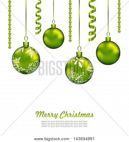 Illustration Christmas Card with Green Balls and Streamer, Isolated on White Background - Vector