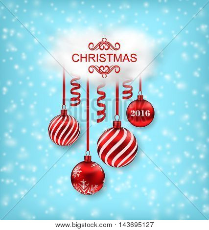 Illustration Christmas Beautiful Background with Balls, Serpentine and Cloud - Vector