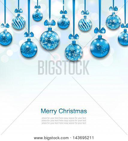 Illustration Christmas Blue Glassy Balls with Bow Ribbon, Shimmering Light Background - Vector