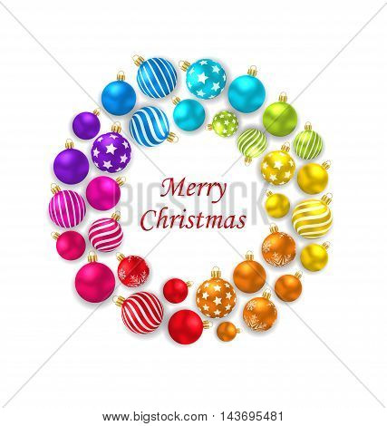 Illustration Set of Colorful Christmas Glass Balls, Round Frame - Vector