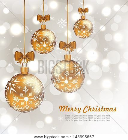 Illustration Glowing Celebration Card with set Christmas balls - Vector