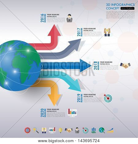 3D Infographic Template. Data Visualization. Can Be Used For Workflow Layout, Number Of Options, Ste