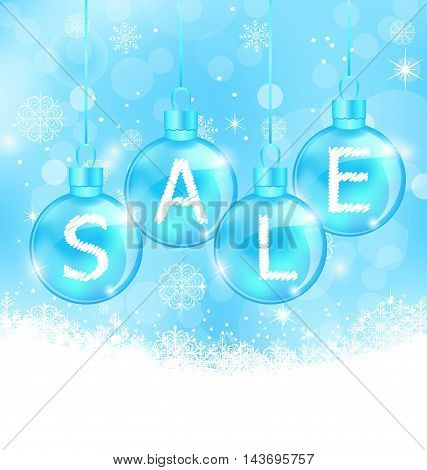 Illustration Christmas background with balls lettering sale - vector