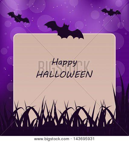 Illustration Halloween Greeting Card, Dark Background - Vector