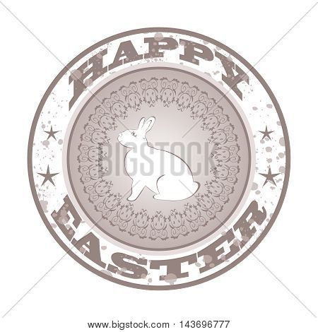 Illustration Easter grunge stamp with bunny - vector