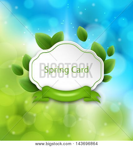 Illustration Abstract Spring Card with Eco Green Leaves and Ribbon on Glowing Background - Vector