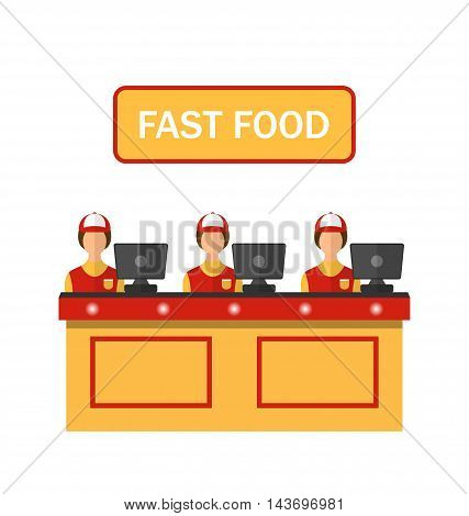 Stock flat vector cashiers icon illustration fast food