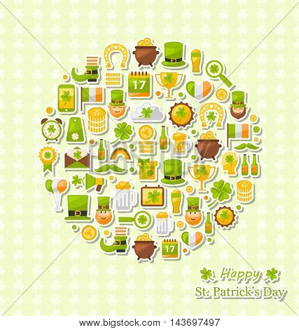 Illustration Collection of Colorful Flat Design Icons for Saint Patrick's Day, Symbols of Patrick's Day Arranged in Form of Circle - Vector