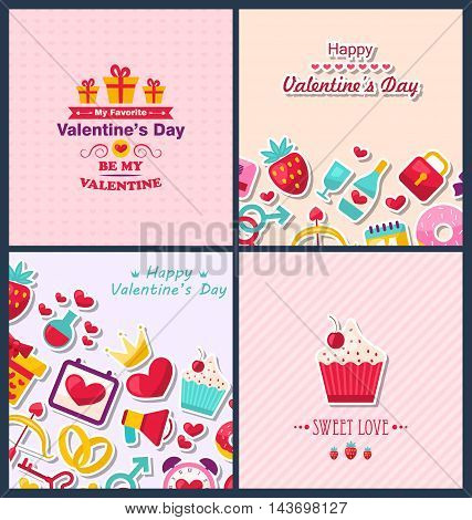 Illustration Set Beautiful Banners with Traditional Elements for Happy Valentine's Day. Romantic Greetings Cards. Templates Brochures - Vector