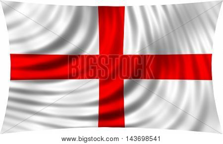 Flag of England waving in wind isolated on white background. English national flag. Patriotic symbolic design. 3d rendered illustration