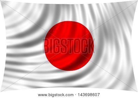 Flag of Japan waving in wind isolated on white background. Japanese national flag. Patriotic symbolic design. 3d rendered illustration
