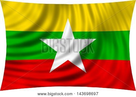 Flag of Myanmar waving in wind isolated on white background. Myanmar national flag. Patriotic symbolic design. 3d rendered illustration