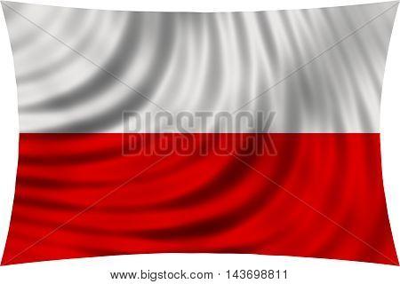 Flag of Poland waving in wind isolated on white background. Polish national flag. Patriotic symbolic design. 3d rendered illustration