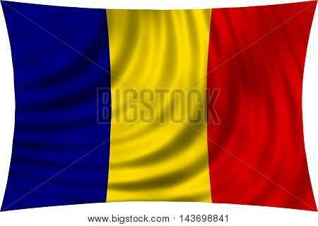 Flag of Romania waving in wind isolated on white background. Romanian national flag. Patriotic symbolic design. 3d rendered illustration