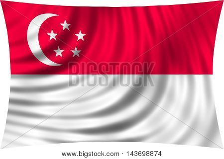 Flag of Singapore waving in wind isolated on white background. Singaporean national flag. Patriotic symbolic design. 3d rendered illustration