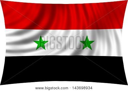 Flag of Syria waving in wind isolated on white background. Syrian national flag. Patriotic symbolic design. 3d rendered illustration
