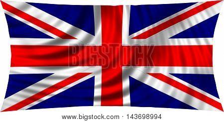 Flag of the United Kingdom waving in wind isolated on white background. British national flag. Union Jack. Patriotic symbolic design. 3d rendered illustration