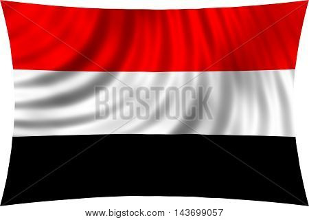 Flag of Yemen waving in wind isolated on white background. Yemeni national flag. Patriotic symbolic design. 3d rendered illustration