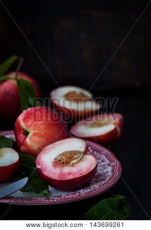 Plate Of Fresh Nectarines