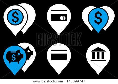Bank Map Markers glyph icons. Pictogram style is bicolor blue and white flat icons with rounded angles on a black background.
