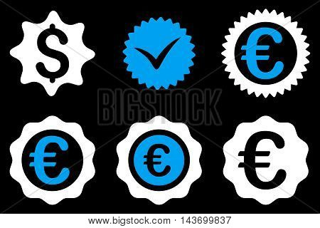 Banking Stamp glyph icons. Pictogram style is bicolor blue and white flat icons with rounded angles on a black background.