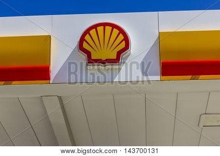 Indianapolis - Circa August 2016: Signage and Logo of Shell Gasoline. Royal Dutch Shell plc is based in The Hague Netherlands I