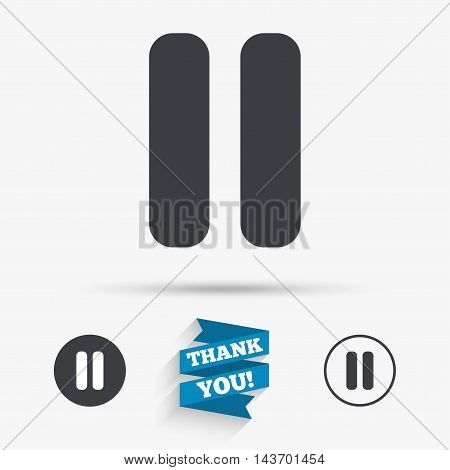 Pause sign icon. Player navigation button. Flat icons. Buttons with icons. Thank you ribbon. Vector