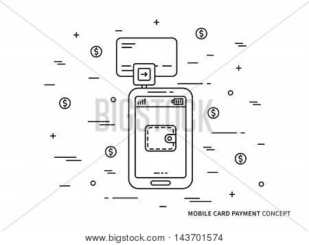 Banking card mobile payment vector linear (line) illustration. Smartphone card swiping payment technology creative concept. Secure card payment reader for phone (wallet, transfer, customer, wireless) graphic design.