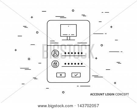 Login access webpage vector illustration. Sign up (log in, sign in) interface technology creative concept. Registration, submit form (frame, box) graphic design.