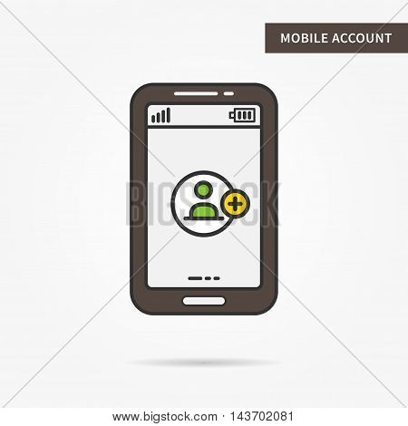 Mobile account access vector linear (line) illustration. User login app technology creative concept. Login security mobile interface (log in, form, window) graphic design.