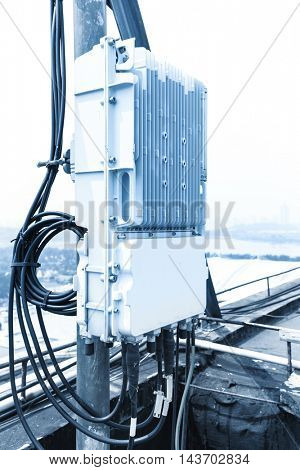 communication box with cable outdoors