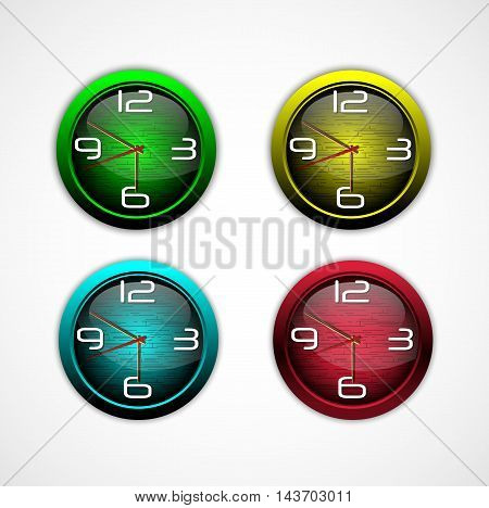 Illustration of Collection of color bright wall clock