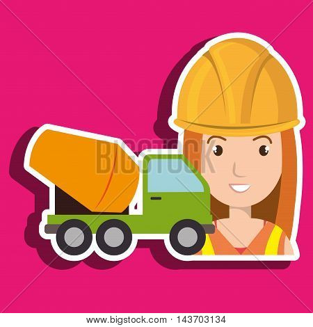 worker mixer cement machinery vector illustration design