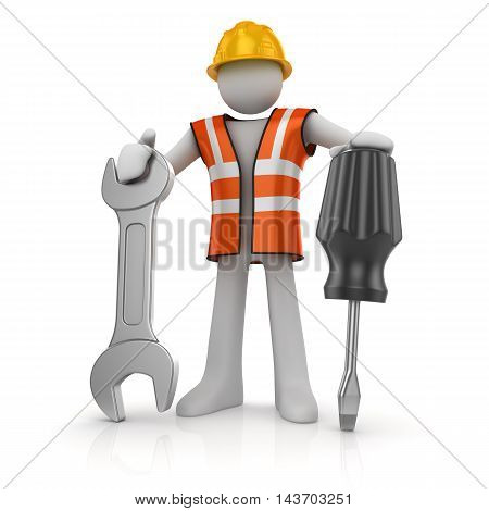 3d man with a screwdriver and a wrench This is a 3d computer generated image. Isolated on white.