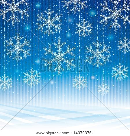 Abstract snowflakes blue background.