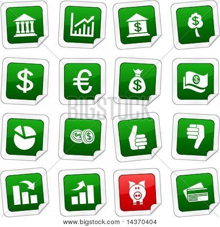 Money sticker set. Vector buttons.