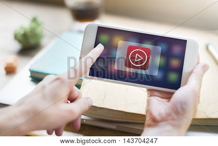 Press Play Button Digital Concept