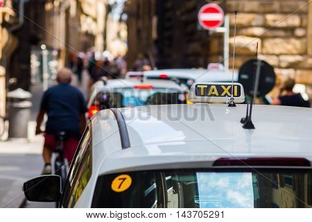 Taxi In The Old Town Of Florence, Italy