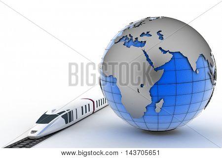 Globe and train. 3d render illustration