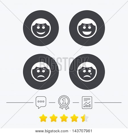 Circle smile face icons. Happy, sad, cry signs. Happy smiley chat symbol. Sadness depression and crying signs. Chat, award medal and report linear icons. Star vote ranking. Vector